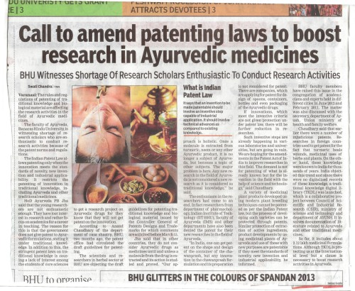 Patent and Ayurveda in Times of India 01 March 2013 Varanasi edition